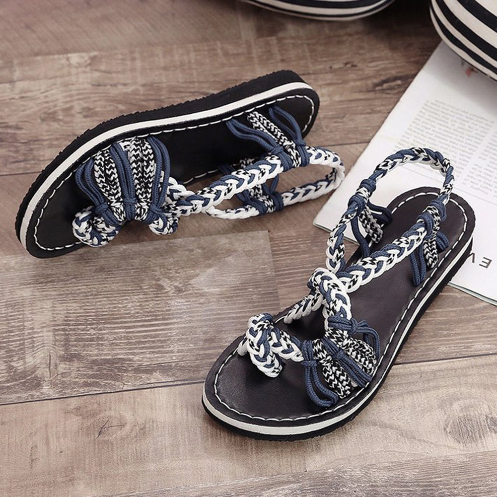 Handmade Braided Flat Sandals - Itopfox