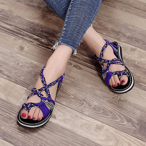 Image of Handmade Braided Flat Sandals - Itopfox
