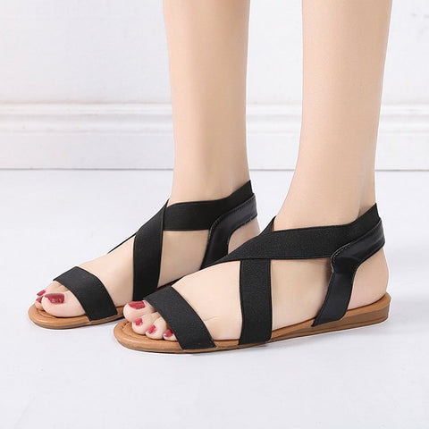 Image of Elastic Ankle Strap Flat Sandals - Itopfox