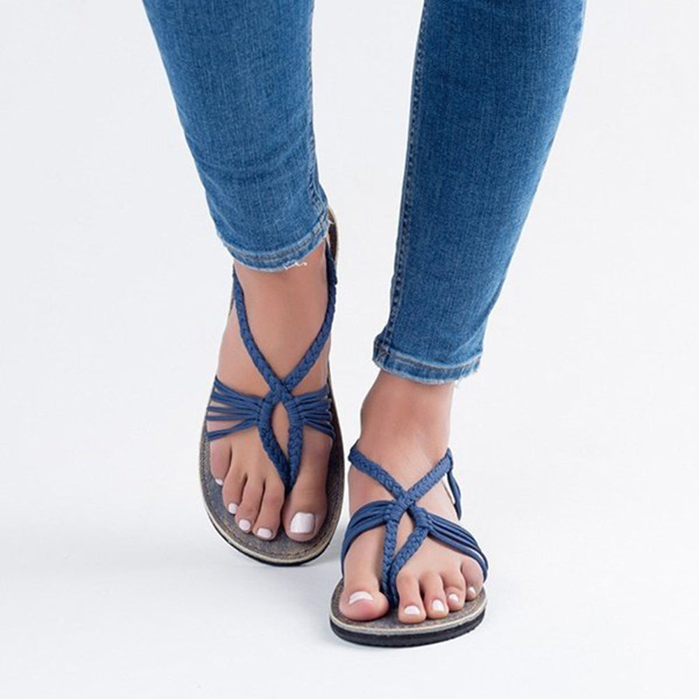 Braided Boho Flat Sandals - Itopfox