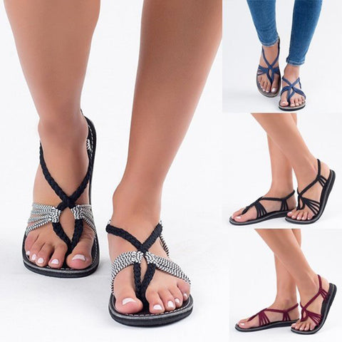 Image of Braided Boho Flat Sandals - Itopfox