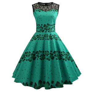 1950's Lace Vintage Cocktail Green Dress