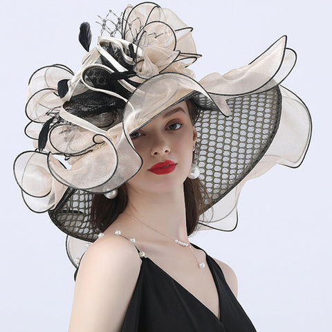 Image of Floral Layered Church Hat For Women