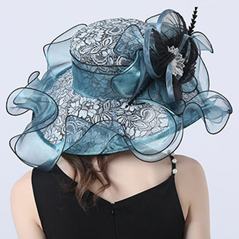 Image of Floral Brim Kentucky Derby Hat For Women