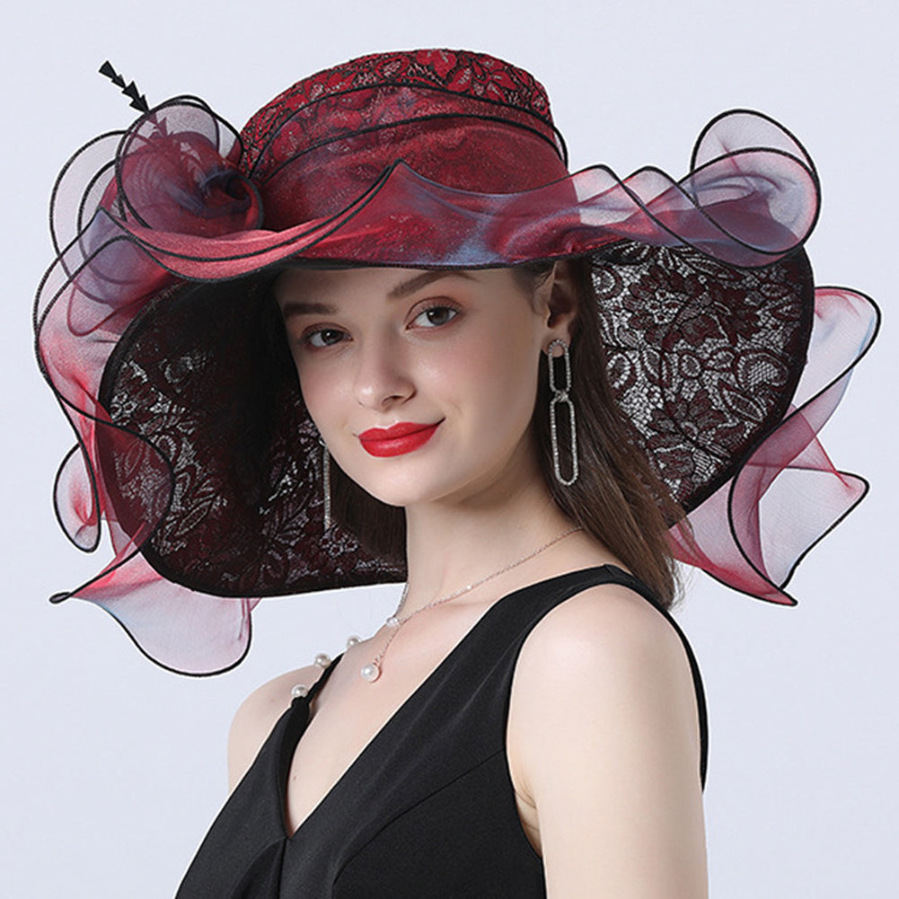 Floral Brim Kentucky Derby Hat For Women
