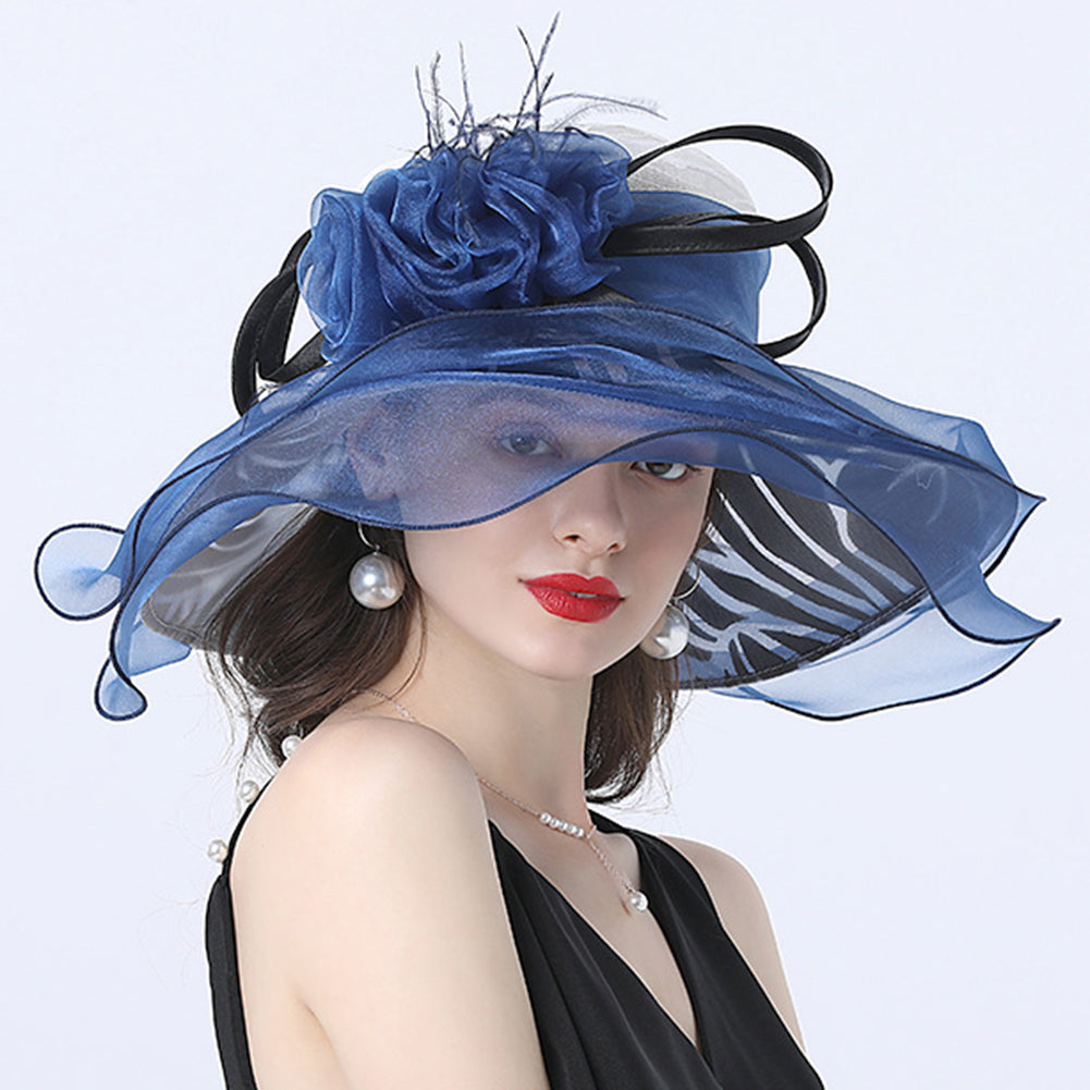 Flower Layered Kenderby Derby Hat For Women