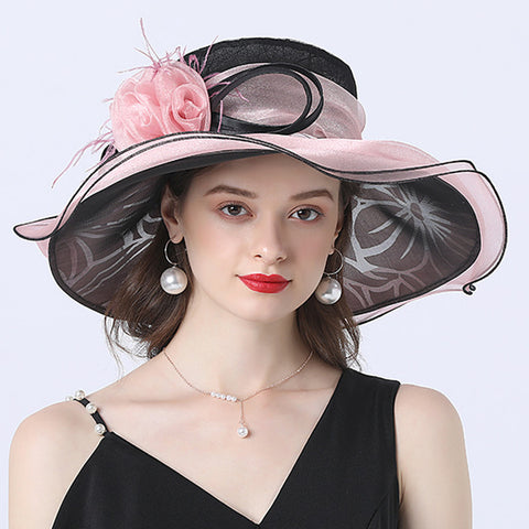 Image of Flower Layered Kenderby Derby Hat For Women