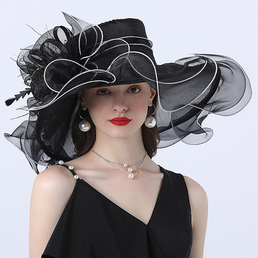 Wide Brim Organza Kentucky Derby Hat