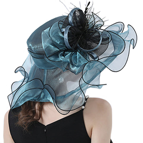 Image of Wide Brim Organza Kentucky Derby Hat