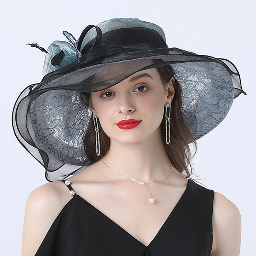 Gauze Flower Wide Brim Organza Hat
