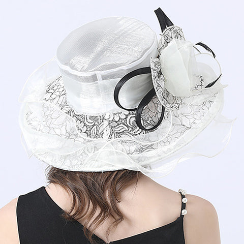 Image of Gauze Flower Wide Brim Organza Hat