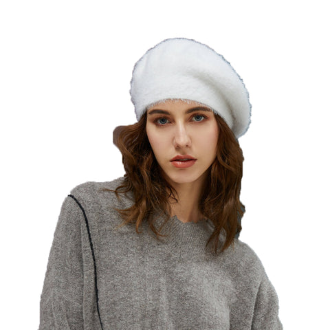 Image of Faux Mink Beret Hat - Itopfox
