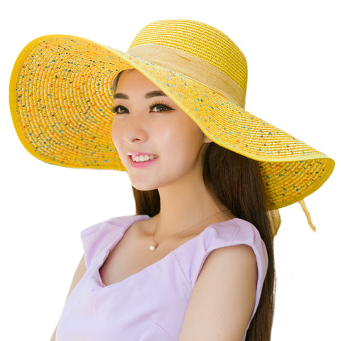 Image of Bowknot Floppy Straw Sun Hat - Itopfox