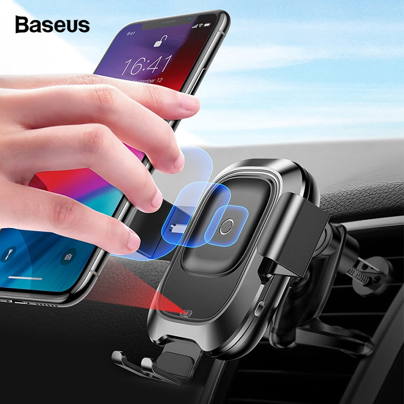 Qi Car Wireless Charger For iPhone Xs Max XR X Samsung Intelligent Infrared Sensor Fast Wirless Charging Car Phone Holder - Itopfox