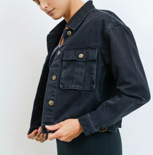 Load image into Gallery viewer, Off Black Denim Jacket