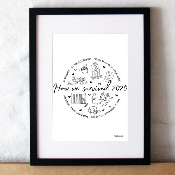 Bespoke Hand Drawn Memories Of 2020 Print