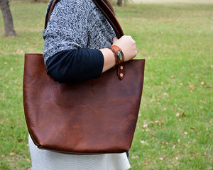 Tanned Cowhide/Stamped Leather Totes from Bear Creek Leather, USA made