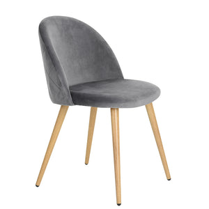 ZOMBA GREY VELVET CHAIRS SET OF 2