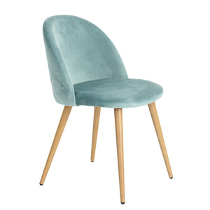 ZOMBA AQUA VELVET ACCENT CHAIR SET OF 2 UK