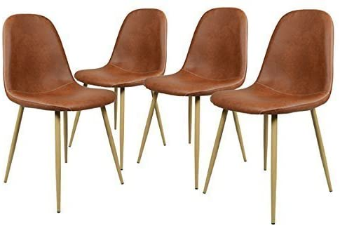 GreenForest Minimalist  PU Leather Dining Chairs in Camel, Set of 4