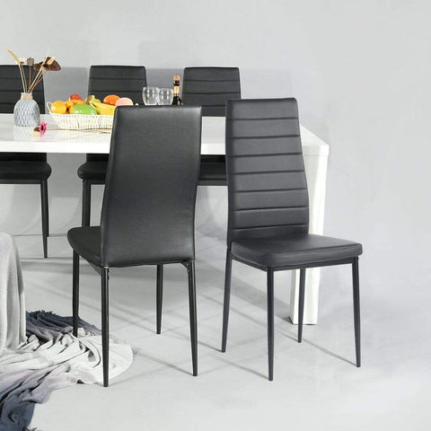 Aingoo PU Leather Black Dining Chairs Set of 4