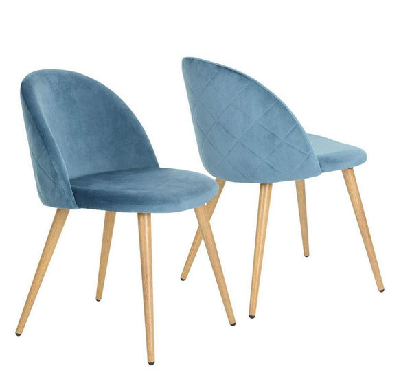 ZOMBA BLUE VELVET ACCENT CHAIRS SET OF 2