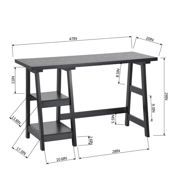 AFRA BLACK TRESTLE COMPUTER DESK