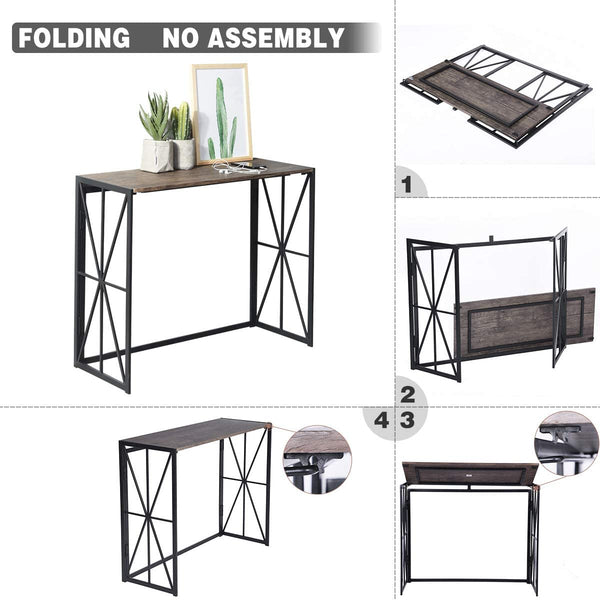 HORES Folding Industrial Console Table
