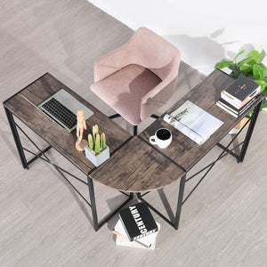 ALBERTINI L-Shaped Folding Industrial Computer Corner Desk