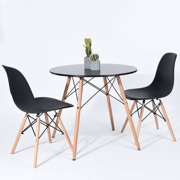 CHAD BLACK ROUND DINING TABLE