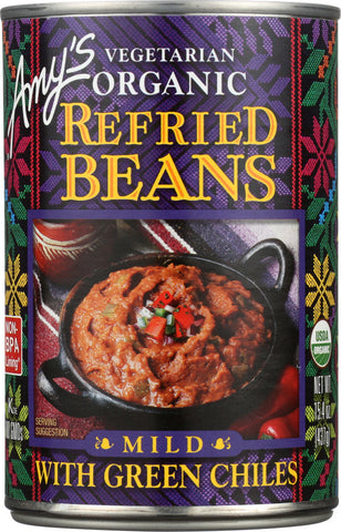 Amy's: Vegetarian Organic Refried Beans With Green Chiles Mild, 15.4 Oz