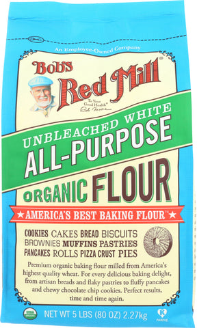 Bob's Red Mill: Unbleached White All-purpose Organic Flour, 5 Lb