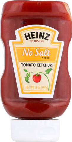 Heinz: Tomato Ketchup No Salt Added, 14 Oz