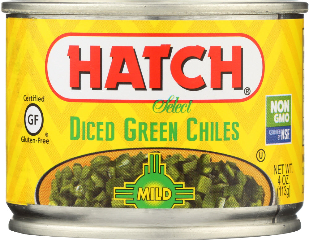 Hatch: Peeled Green Chiles Diced Mild, 4 Oz