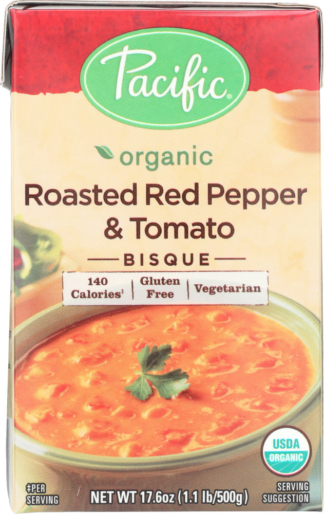 Pacific Foods: Organic Bisque Roasted Red Pepper And Tomato, 17.6 Oz