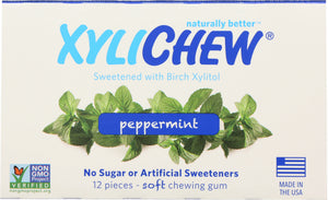 Xylichew: Sugar Free Chewing Gum Peppermint, 12 Pc