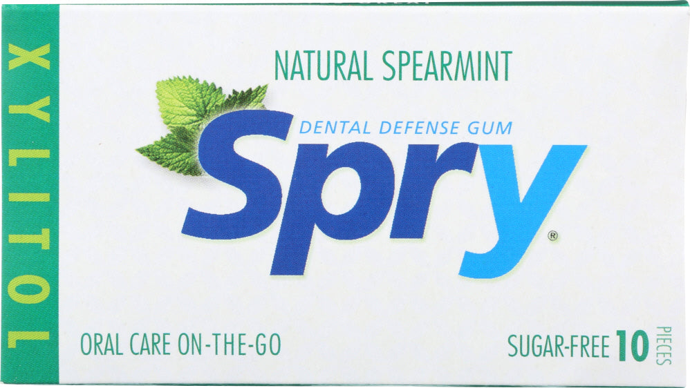 Spry: Chewing Gum Spearmint, 10 Pieces