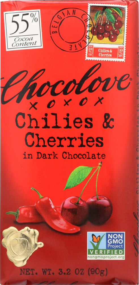 Chocolove: Chilies & Cherries In Dark Chocolate, 3.2 Oz