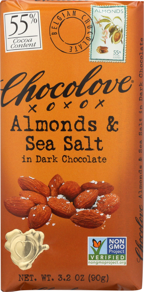 Chocolove: Almonds & Sea Salt In Dark Chocolate, 3.2 Oz