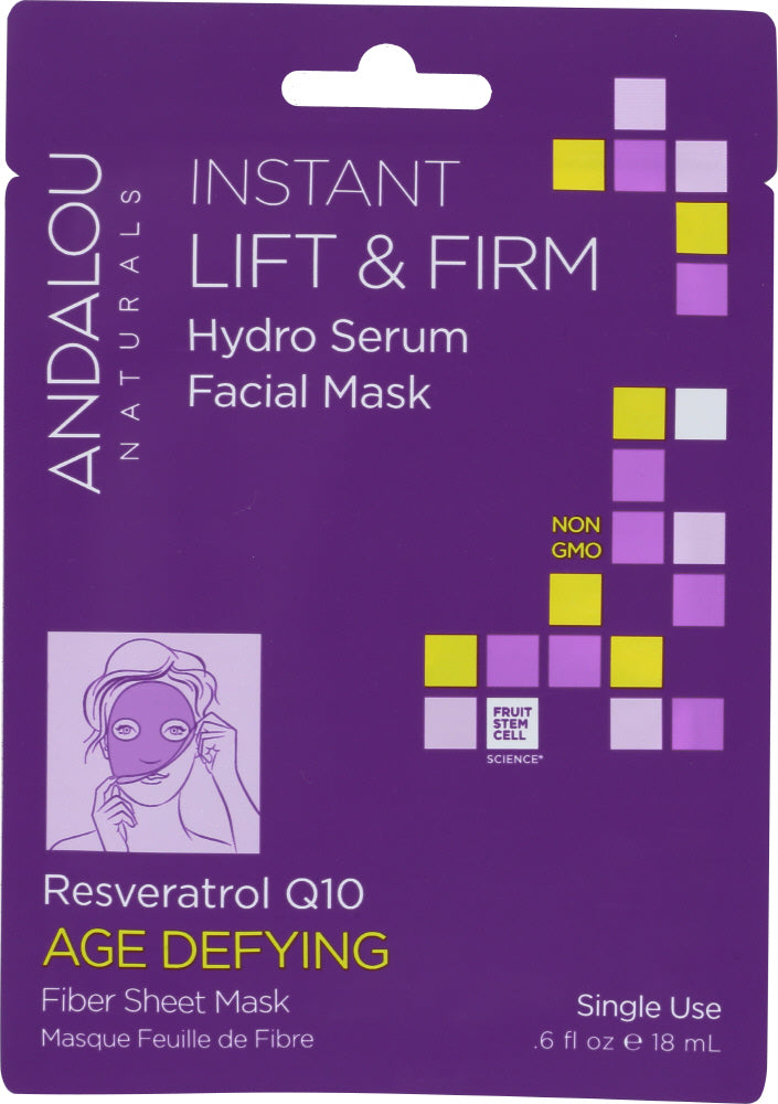 Andalou Naturals: Instant Lift & Firm Hydro Serum Facial Mask Age Defying, 0.6 Oz