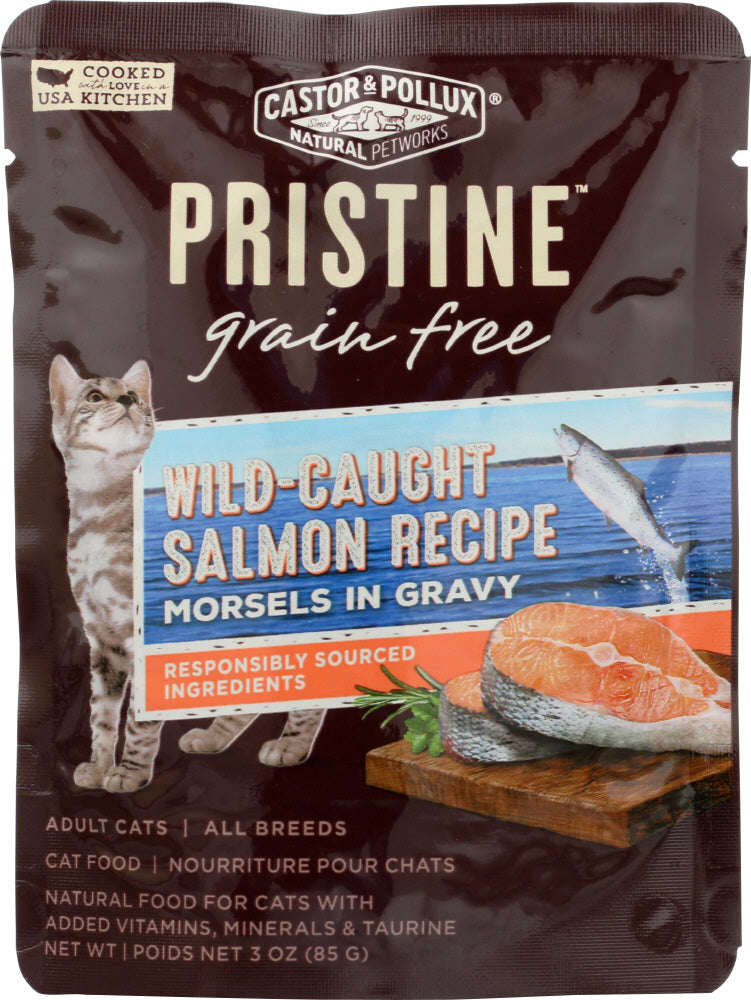 Castor & Pollux: Pristine Grain Free Wild-caught Salmon Recipe Morsels In Gravy 3 Oz