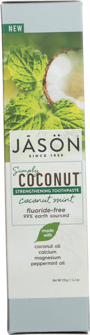 Jason: Toothpaste Simply Coconut Strengthening Mint Fluoride Free, 4.2 Oz