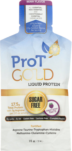 Pro T Gold: Protein Liquid Berry Sugar Free, 1 Oz