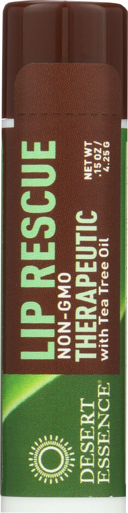 Desert Essence: Lip Rescue Therapeutic With Tea Tree Oil, 0.15 Oz