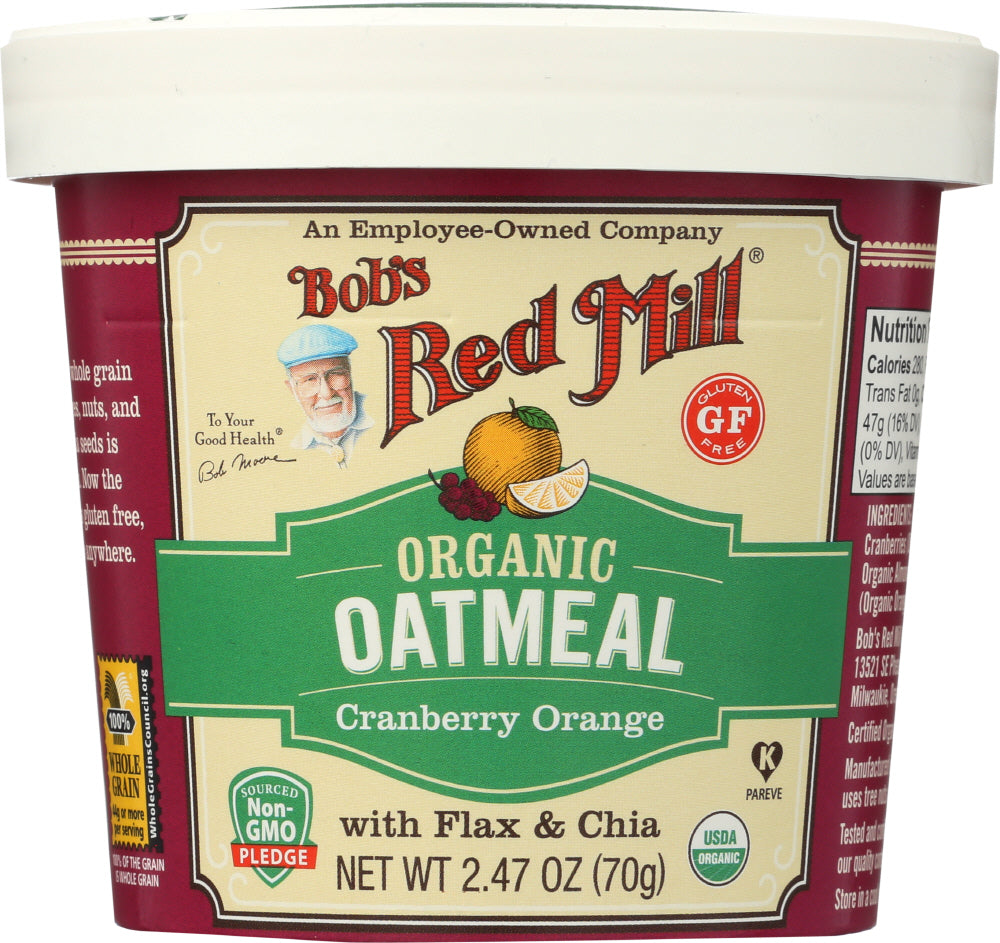 Bobs Red Mill: Organic Oatmeal Cup Cranberry Orange, 2.47 Oz