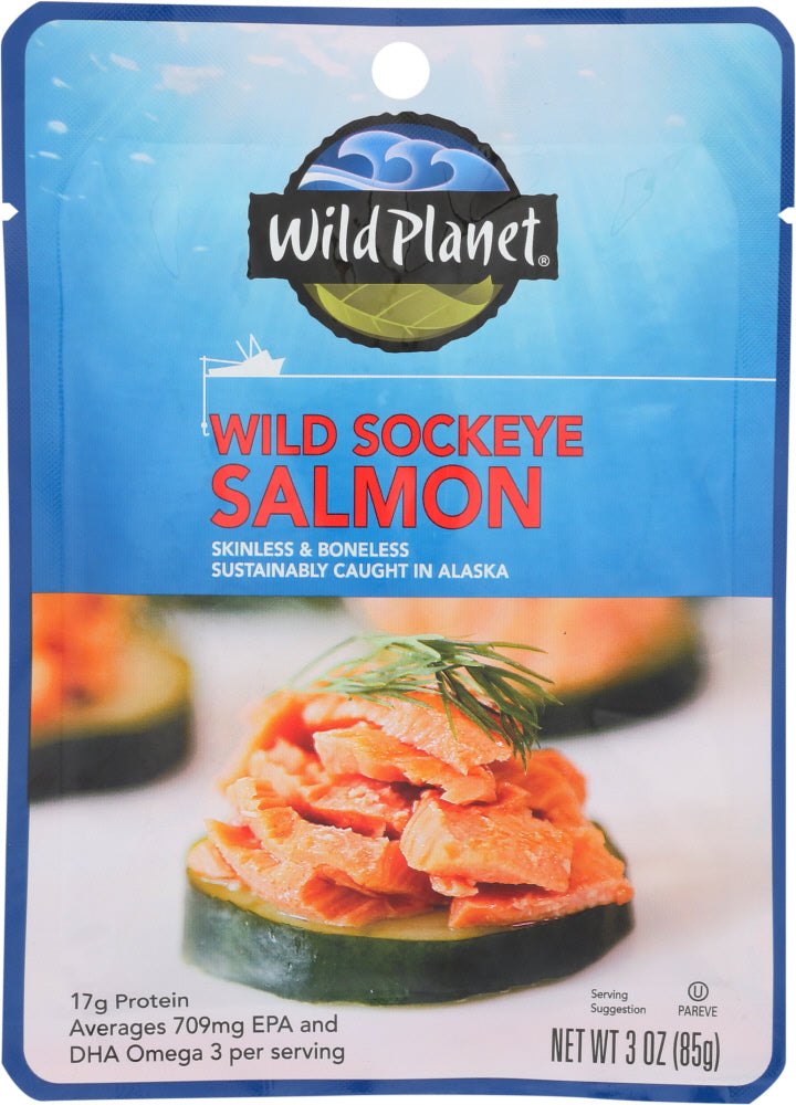 Wild Planet: Wild Sockeye Salmon Single Serve Pouch, 3 Oz