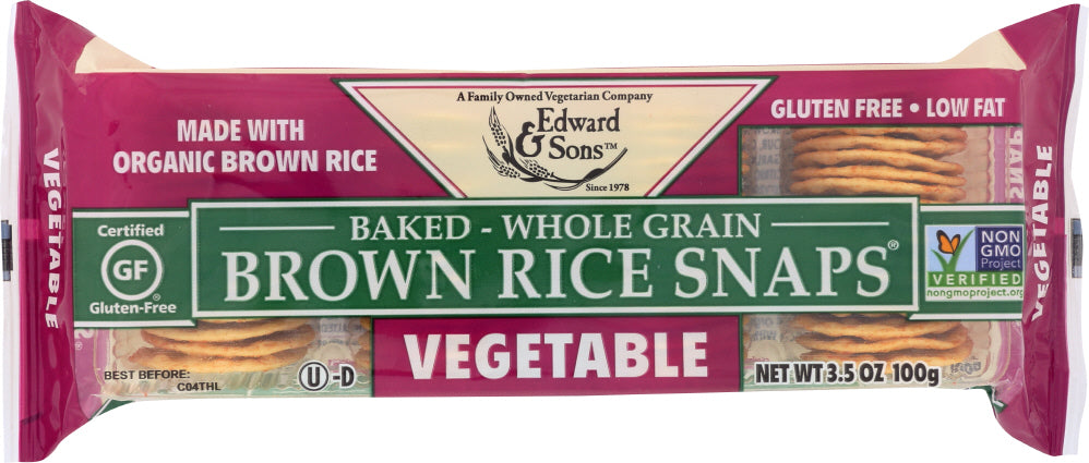 Edward & Sons: Baked Brown Rice Snaps Vegetable, 3.5 Oz