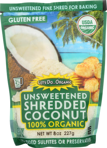 Let's Do Organic: Shredded Coconut Unsweetened, 8 Oz