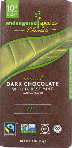 Endangered Species: Natural Dark Chocolate Bar With Forest Mint, 3 Oz