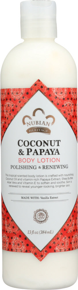 Nubian Heritage: Body Lotion Coconut & Papaya, 13 Oz
